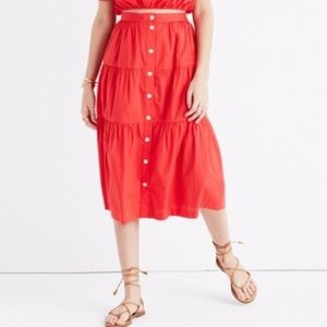 Madewell Bistro Midi Skirt True Red Size Large